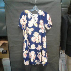 Women's Floral Print Short Sleeve Ruffle Hem Dress